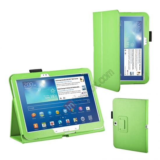 case for samsung galaxy 10.1 tablet,wholesale PU Leather Flip Tablet Case Cover for Samsung Galaxy Tab 3 10.1 P5200/P5210 - Green