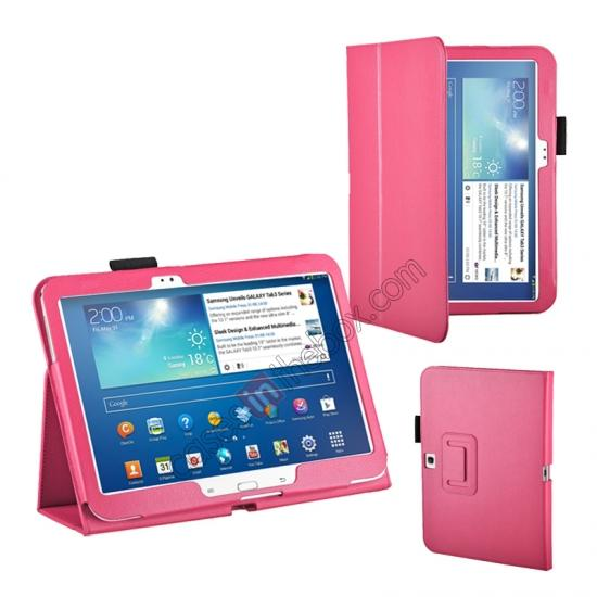 pu leather flip tablet case cover for samsung galaxy tab 3 10 1 p5200 p5210 hot pink 11186. Black Bedroom Furniture Sets. Home Design Ideas