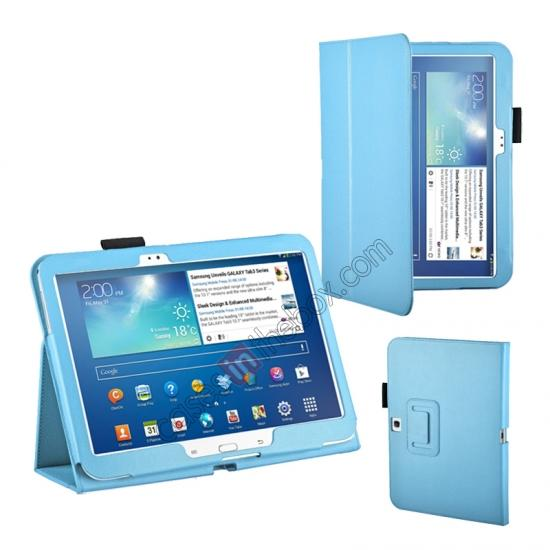 samsung galaxy tab 3 10.1 case cover,wholesale PU Leather Flip Tablet Case Cover for Samsung Galaxy Tab 3 10.1 P5200/P5210 - Light Blue