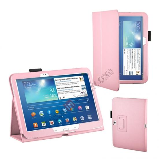 samsung galaxy tab cases 10.1,wholesale PU Leather Flip Tablet Case Cover for Samsung Galaxy Tab 3 10.1 P5200/P5210 - Pink