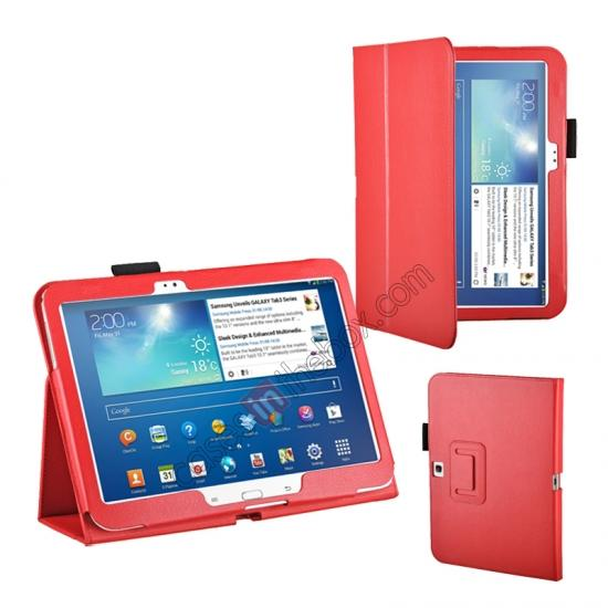 leather case for samsung galaxy tab 3 10.1,wholesale PU Leather Flip Tablet Case Cover for Samsung Galaxy Tab 3 10.1 P5200/P5210 - Red
