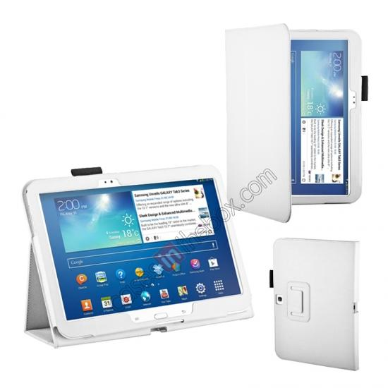 moko samsung galaxy tab 10.1 case,wholesale PU Leather Flip Tablet Case Cover for Samsung Galaxy Tab 3 10.1 P5200/P5210 - White