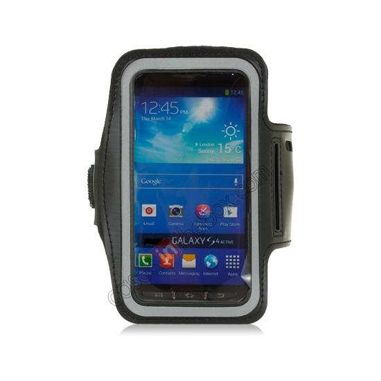 cheap Neoprene Armband Strap Case for Samsung Galaxy S4 Active i9295 - Black