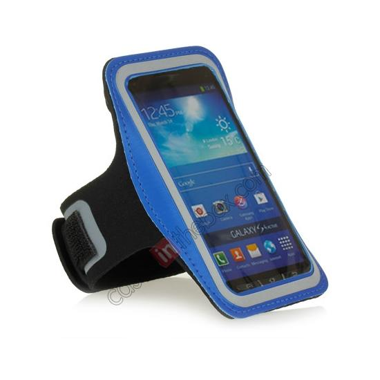 cheap Neoprene Armband Strap Case for Samsung Galaxy S4 Active i9295 - Blue