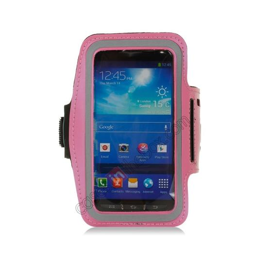discount Neoprene Armband Strap Case for Samsung Galaxy S4 Active i9295 - Hot Pink
