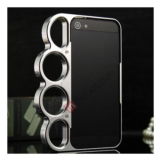 discount Aluminum Knuckle Ring Bumper Case for iPhone SE/5S/5 - Silver