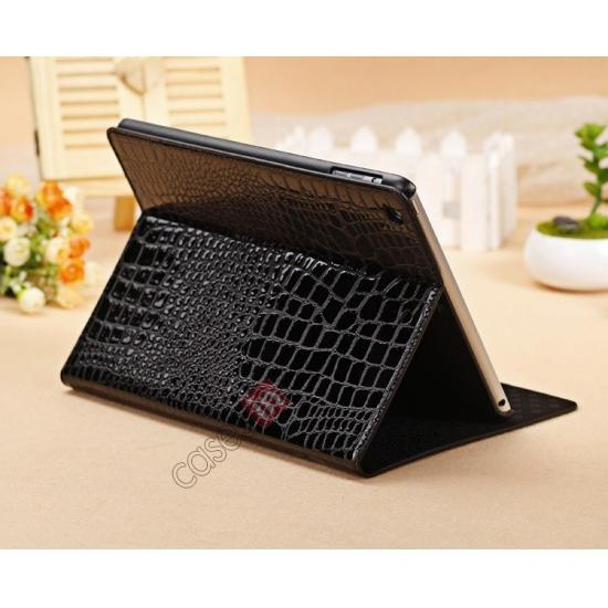 new ipad air leather cases,wholesale Luxury Crocodile Skin Pattern Leather Stand Case for iPad Air - Black