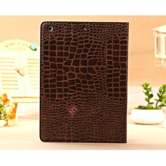leather cases ipad air,top quality Luxury Crocodile Skin Pattern Leather Stand Case for iPad Air - Brown