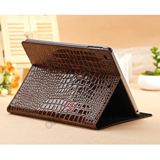 brown leather ipad air case,wholesale Luxury Crocodile Skin Pattern Leather Stand Case for iPad Air - Brown