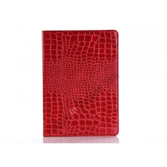 leather cases for ipad air,discount Luxury Crocodile Skin Pattern Leather Stand Case for iPad Air - Red