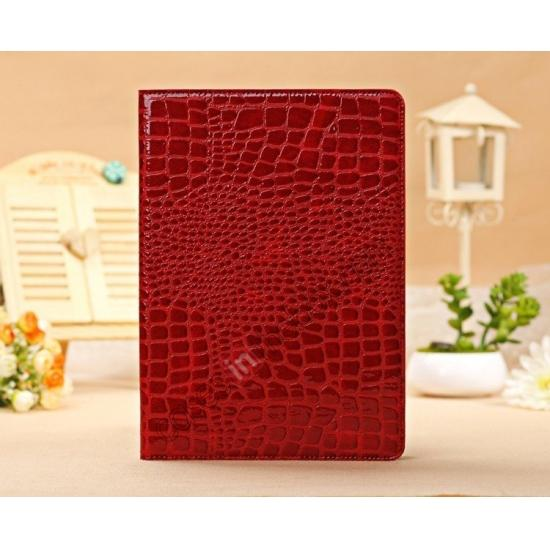 leather ipad air case cover,cheap Luxury Crocodile Skin Pattern Leather Stand Case for iPad Air - Red