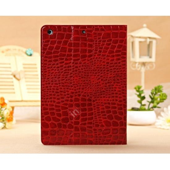 leather cases ipad air,top quality Luxury Crocodile Skin Pattern Leather Stand Case for iPad Air - Red