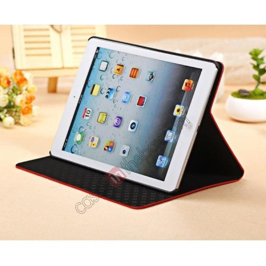 ipad air smart case leather,best price Luxury Crocodile Skin Pattern Leather Stand Case for iPad Air - Red
