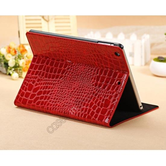 leather ipad air case,wholesale Luxury Crocodile Skin Pattern Leather Stand Case for iPad Air - Red