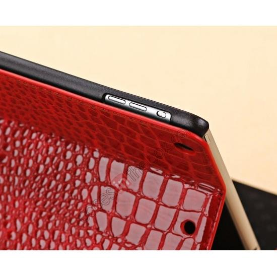 new ipad air case leather,on sale Luxury Crocodile Skin Pattern Leather Stand Case for iPad Air - Red