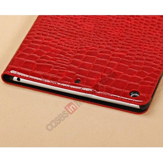 low price Luxury Crocodile Skin Pattern Leather Stand Case for iPad Air - Red