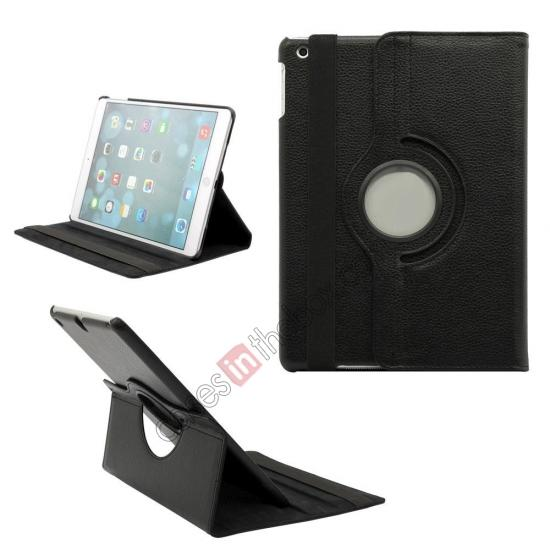 leather case for ipad air,wholesale 360 Degree Rotating PU Leather Case Cover Swivel Stand for Apple iPad Air - Black