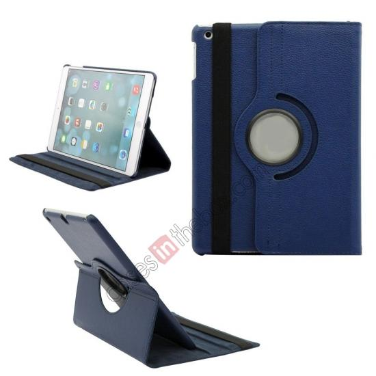 ipad air leather cases,wholesale 360 Degree Rotating PU Leather Case Cover Swivel Stand for Apple iPad Air - Dark blue