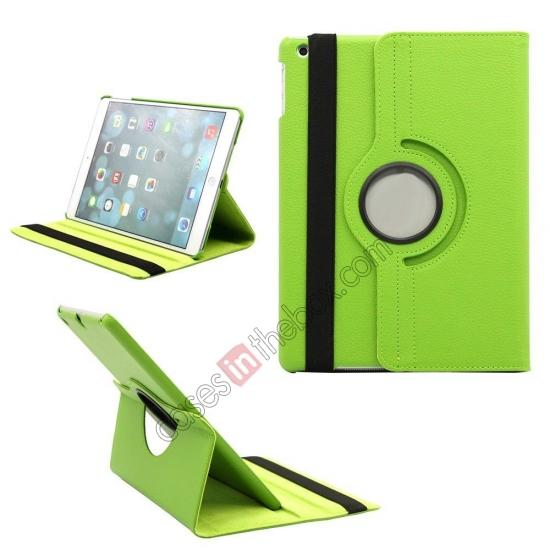 leather case ipad air,wholesale 360 Degree Rotating PU Leather Case Cover Swivel Stand for Apple iPad Air - Green