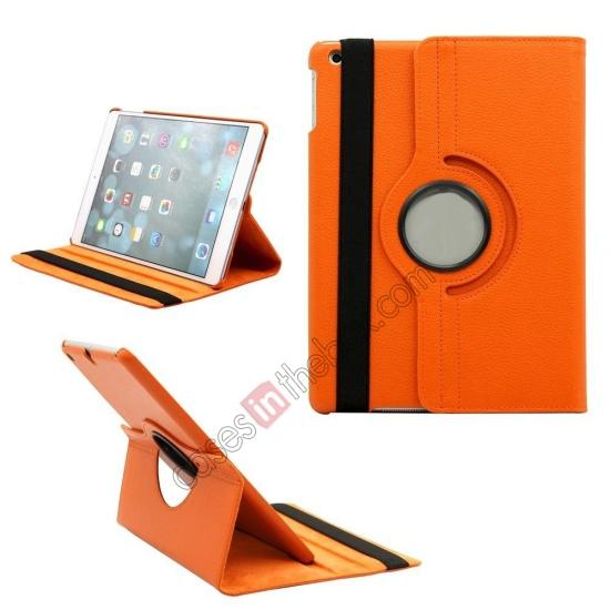 new ipad air leather case,wholesale 360 Degree Rotating PU Leather Case Cover Swivel Stand for Apple iPad Air - Orange