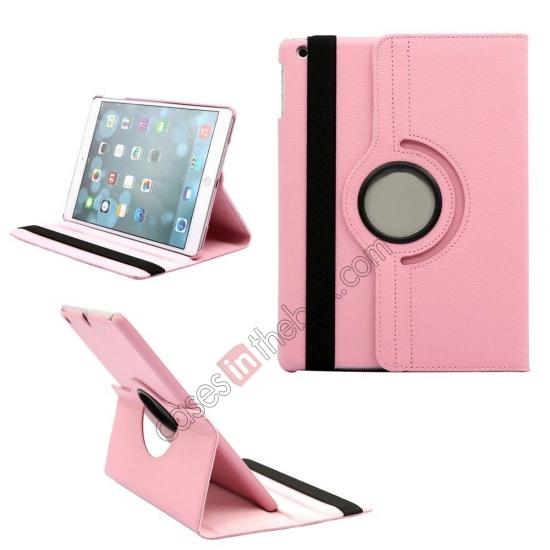 genuine leather ipad air case,wholesale 360 Degree Rotating PU Leather Case Cover Swivel Stand for Apple iPad Air - Pink