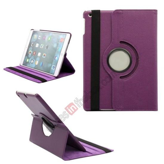 ipad air leather case,wholesale 360 Degree Rotating PU Leather Case Cover Swivel Stand for Apple iPad Air - Purple