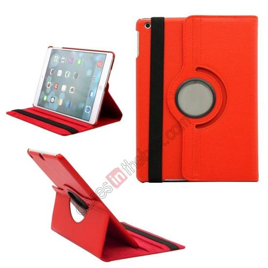 best ipad air leather case,wholesale 360 Degree Rotating PU Leather Case Cover Swivel Stand for Apple iPad Air - Red