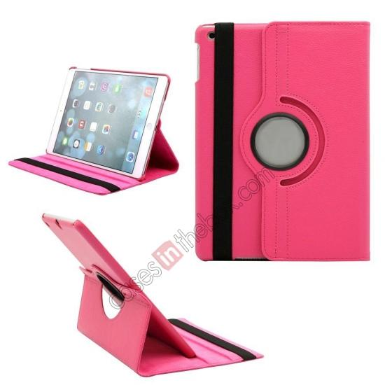 ipad air brown leather case,wholesale 360 Degree Rotating PU Leather Case Cover Swivel Stand for Apple iPad Air - Rose red