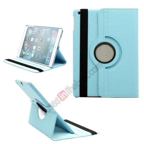 leather case ipad air,wholesale 360 Degree Rotating PU Leather Case Cover Swivel Stand for Apple iPad Air - Sky blue
