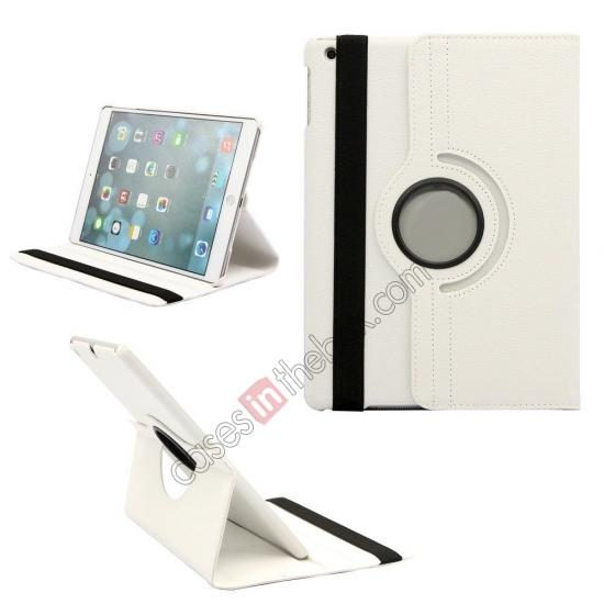 brown leather ipad air case,wholesale 360 Degree Rotating PU Leather Case Cover Swivel Stand for Apple iPad Air - White