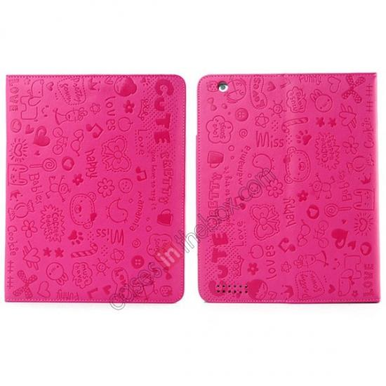 best ipad air leather case,wholesale Fashionable Cute cartoon pattern Leather Case for iPad Air - Rose red