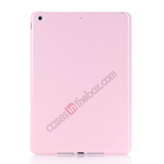 leather case for new ipad air,wholesale High Quality Soft TPU Gel Back Cover Case for iPad Air - Pink