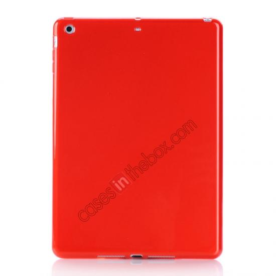 ipad air covers leather case,wholesale High Quality Soft TPU Gel Back Cover Case for iPad Air - Red