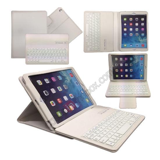 wholesale Leather Detachable Bluetooth Keyboard Case with Stand for iPad Air - White