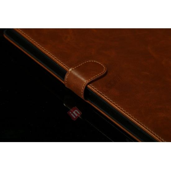 low price Luxury Crazy Horse Texture Leather Stand Case for iPad Air with Sleep/Wake-up Function & Card Slots - Dark Brown