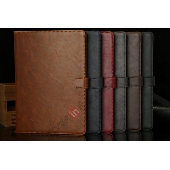 low price Luxury Crazy Horse Texture Leather Stand Case for iPad Air with Sleep/Wake-up Function & Card Slots - Grey