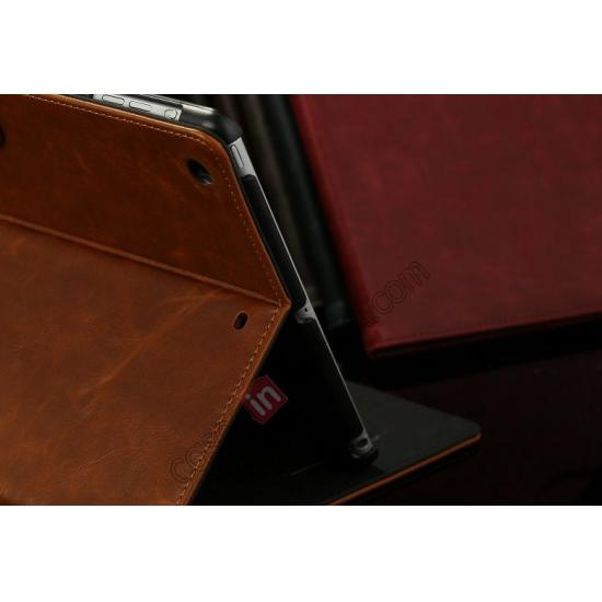 ipad air smart case leather,best price Luxury Crazy Horse Texture Leather Stand Case for iPad Air with Sleep/Wake-up Function & Card Slots - Wine Red