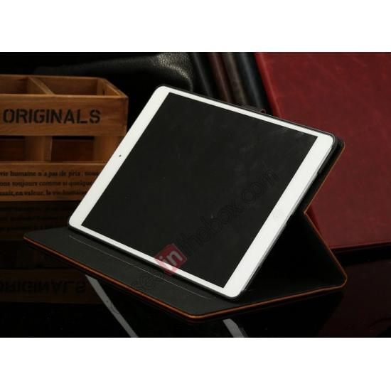 low price Luxury Crazy Horse Texture Leather Stand Case for iPad Air with Sleep/Wake-up Function & Card Slots - Wine Red