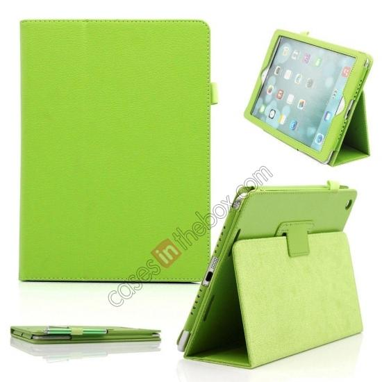 ipad air leather smart case,wholesale Lychee Folio Folding Slim PU Leather Stand Case Cover For New Apple iPad Air 5 5th Gen - Green