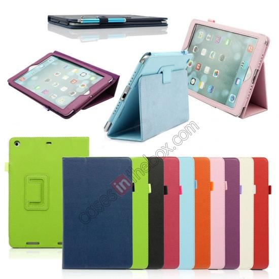 ipad air case leather smart cover,discount Lychee Folio Folding Slim PU Leather Stand Case Cover For New Apple iPad Air 5 5th Gen - Green