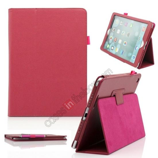 custom leather ipad air case,wholesale Lychee Folio Folding Slim PU Leather Stand Case Cover For New Apple iPad Air 5 5th Gen - Hot Pink