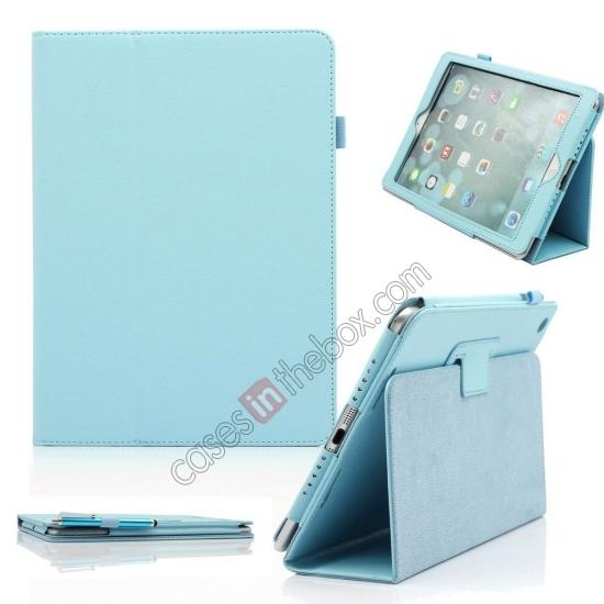 ipad air case leather cover,wholesale Lychee Folio Folding Slim PU Leather Stand Case Cover For New Apple iPad Air 5 5th Gen - Light Blue