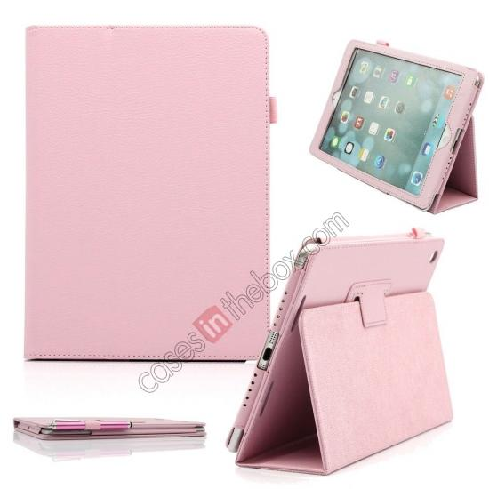 leather case for ipad air,wholesale Lychee Folio Folding Slim PU Leather Stand Case Cover For New Apple iPad Air 5 5th Gen - Pink