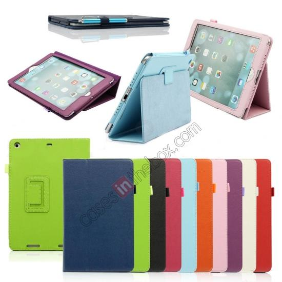 ipad air leather case stand,discount Lychee Folio Folding Slim PU Leather Stand Case Cover For New Apple iPad Air 5 5th Gen - Pink
