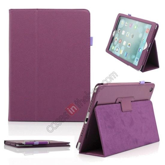 ipad air case cover leather,wholesale Lychee Folio Folding Slim PU Leather Stand Case Cover For New Apple iPad Air 5 5th Gen - Purple