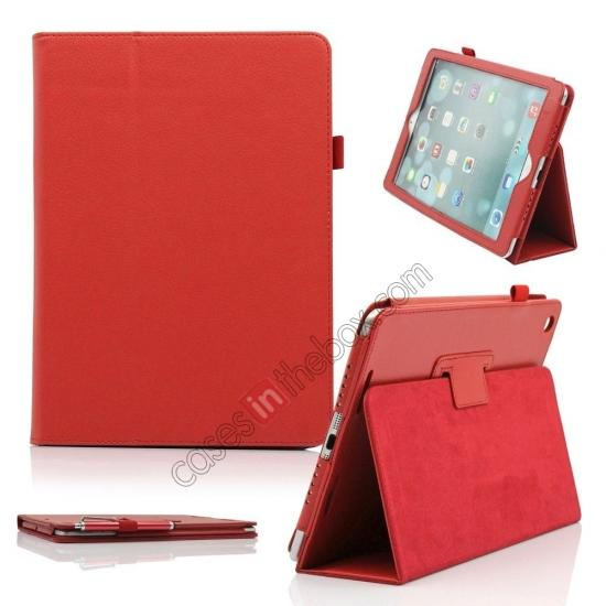 best ipad air leather case,wholesale Lychee Folio Folding Slim PU Leather Stand Case Cover For New Apple iPad Air 5 5th Gen - Red