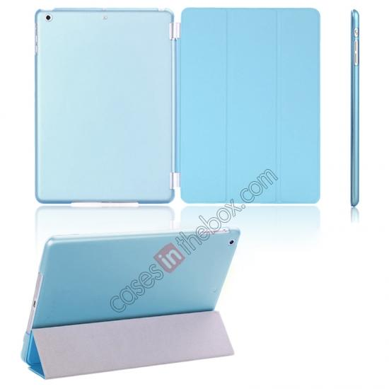 cases for ipad air,wholesale Magnetic Smart Cover Leather + Back Case for iPad Air - Blue