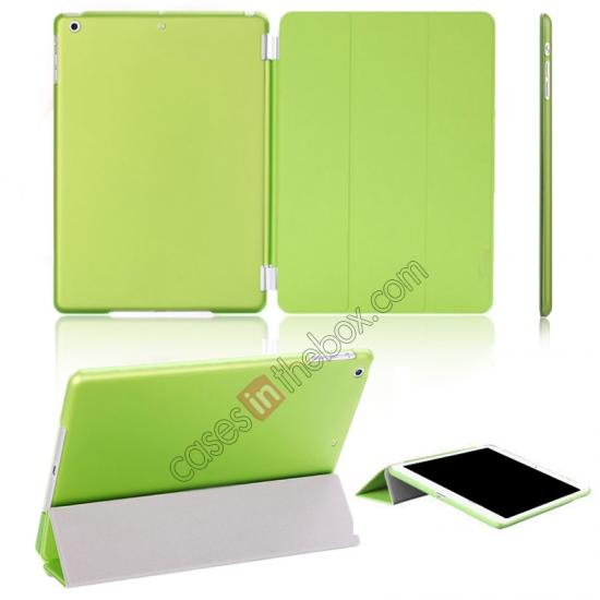 ipad smart case ipad air,wholesale Magnetic Smart Cover Leather + Back Case for iPad Air - Green