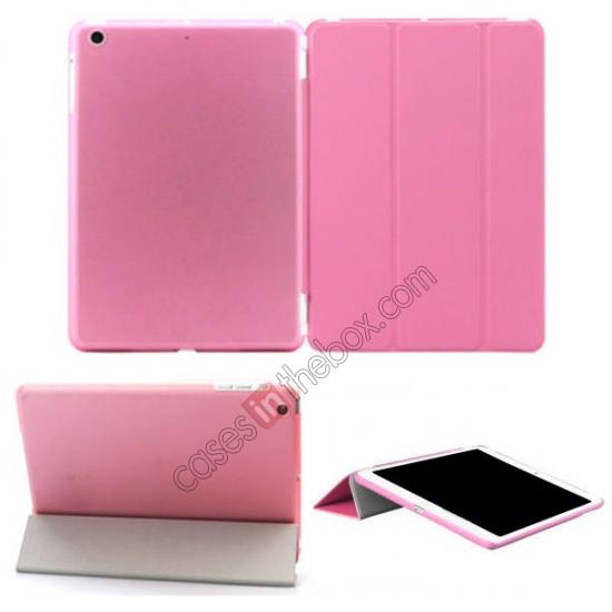 ipad air covers,wholesale Magnetic Smart Cover Leather + Back Case for iPad Air - Pink