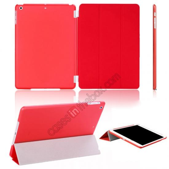 best case for ipad air,wholesale Magnetic Smart Cover Leather + Back Case for iPad Air - Red